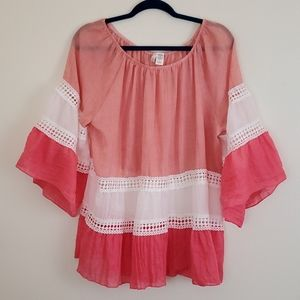 Kaktus Boho Pink, Peach & White Top - L